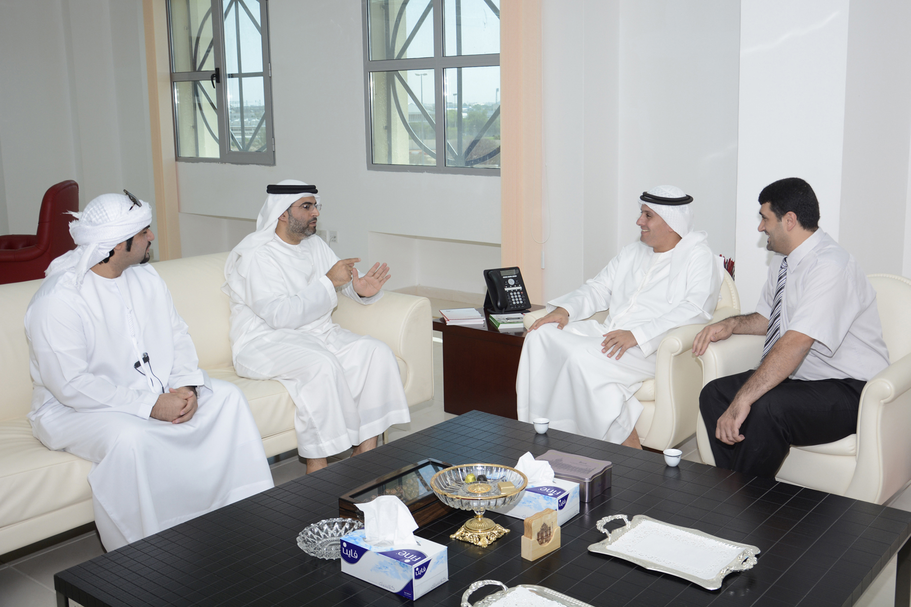 Dr. Noor Eldeen Atatreh, AAU Chancellor, greeted Mr. Hamad Hazza Al Darmaki, Chairman of the Association for the Deaf