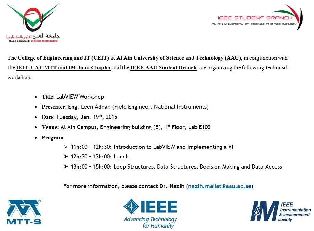 LabVIEW Workshop – National Instruments - Al Ain University